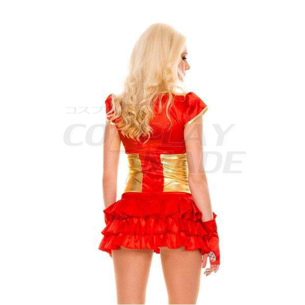 Sexy Rot Metallic Damen Iron Man Kostüme Halloween Cosplay Kostüme