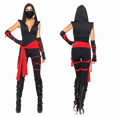 Deadly Ninja Catsuit Waist Sash Arm Warmers Mask Wraps Costume Cosplay