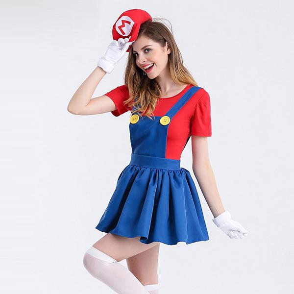 Ladies Super Mario Film Red Costume Cosplay Halloween