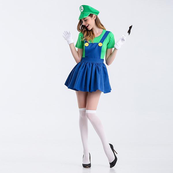 Ladies Super Mario Film Green Costume Cosplay Halloween
