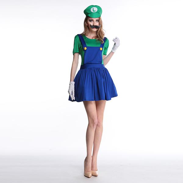 Adult Mario Luigi Red Costume Woman Cosplay Halloween