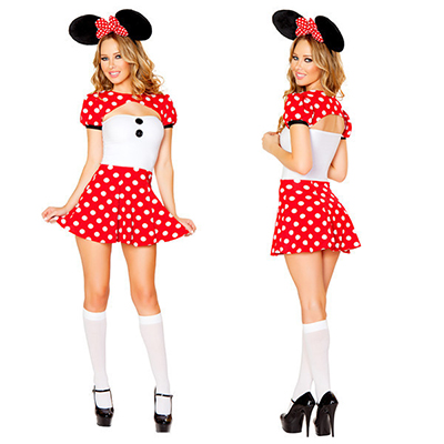 Cute Spot Rouge Femmes Mickey Mouse Halloween Costume Carnaval