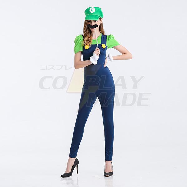 Dame Super Mario Kostume Cosplay Grøn Kjoler Fastelavn