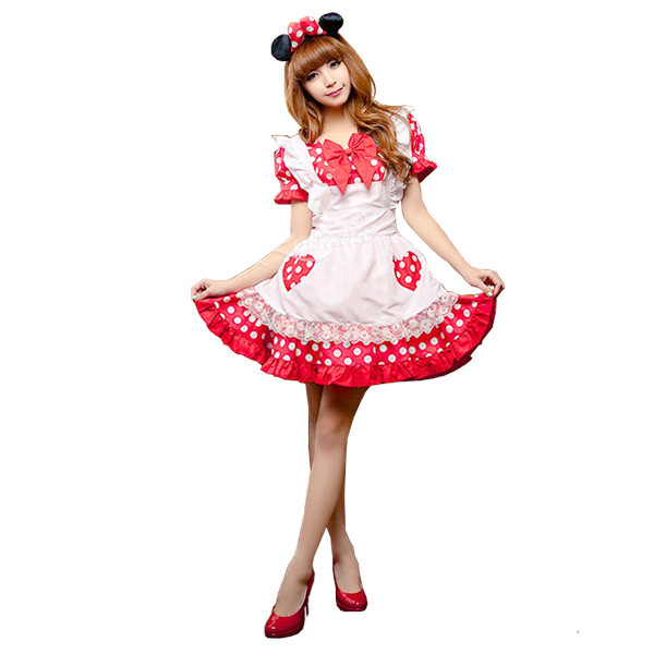 Fashion Sweet Mickey Mouse Maid Costume Cosplay Halloween