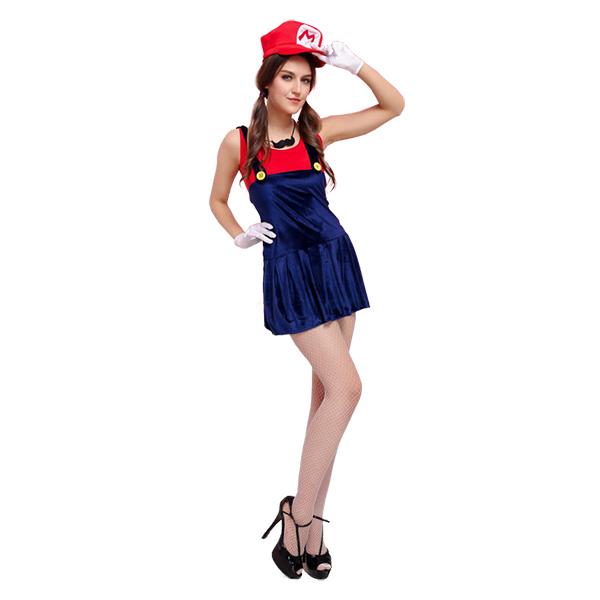 Deluxe Mario Plumber Red Costume Cosplay Halloween