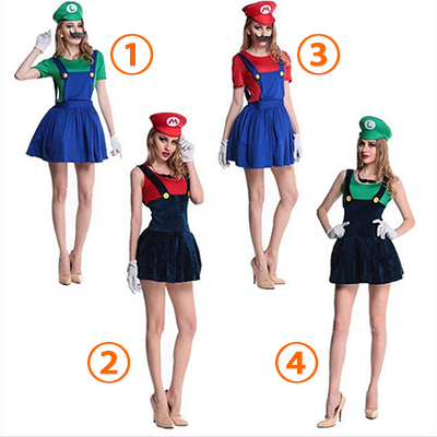 Vrouwen Volwassen Super Mario en Luigi More Color Kostuum Cosplay Halloween