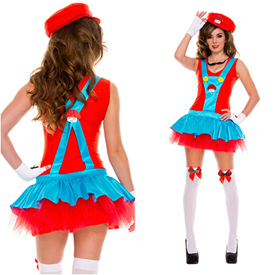Sexy Super Mario Bros Luigi Red Clothes Cosplay Costume Halloween