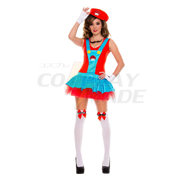 Sexy Super Mario Bros Luigi Red Clothes Cosplay Costume Halloween