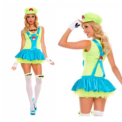 Sexy Super Mario Bros Luigi Green Clothes Cosplay Costume Halloween