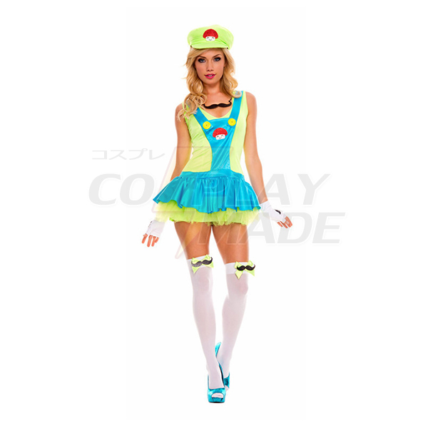 Sexy Super Mario Bros Luigi Grün Kleider Faschingskostüme Cosplay Kostüme Halloween