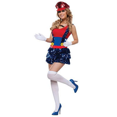 Womens Block Bustin Maria Fancy Red Dress Costume Cosplay