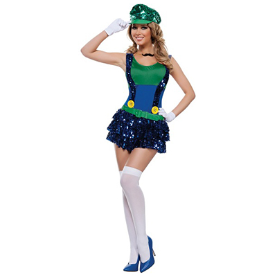 Womens Block Bustin Maria Fancy Green Dress Costume Cosplay