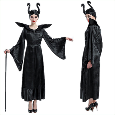 Women Witch Maleficent Black Clothes Costume Cosplay Halloween