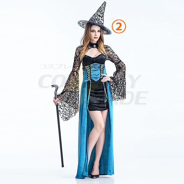 Womens Witch Long Costume Role Playing Stage Costume Halloween Party Clothes