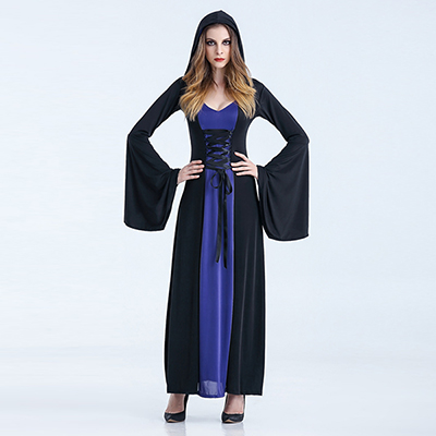 Dark Blue Renaissance Medieval Vintage Dress Womens Witch Costume Halloween Cosplay