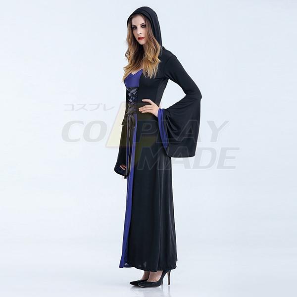 Dark Blau Renaissance Mittelalterlich Vintage Kleider Damen Hexe Kostüme Halloween Cosplay Kostüme
