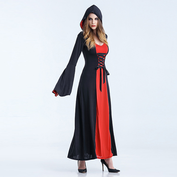 Red Renaissance Medieval Vintage Dress Womens Witch Costume Halloween Cosplay