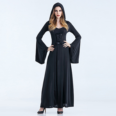 Black Renaissance Medieval Vintage Dress Womens Witch Costume Halloween Cosplay