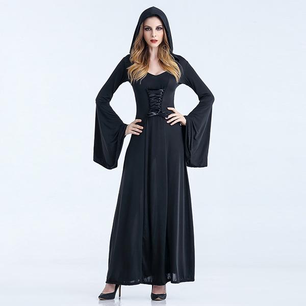 Sort Renaissance Medieval Årgang Kjoler Dame Heks Kostume Halloween Cosplay