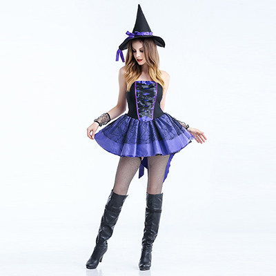 Purple Costume Halloween Pleated High Low Witch Dress