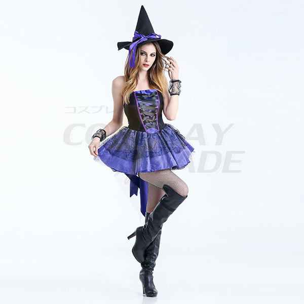 Lila Kostüme Halloween Pleated High Low Hexe Kleider