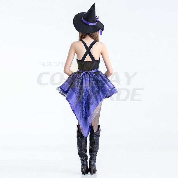 Lilla Kostume Halloween Pleated High Low Heks Kjoler Fastelavn