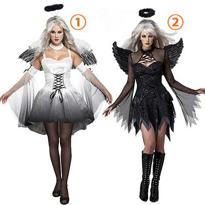 Womens Sexy Fallen Angel Costume Halloween Cosplay