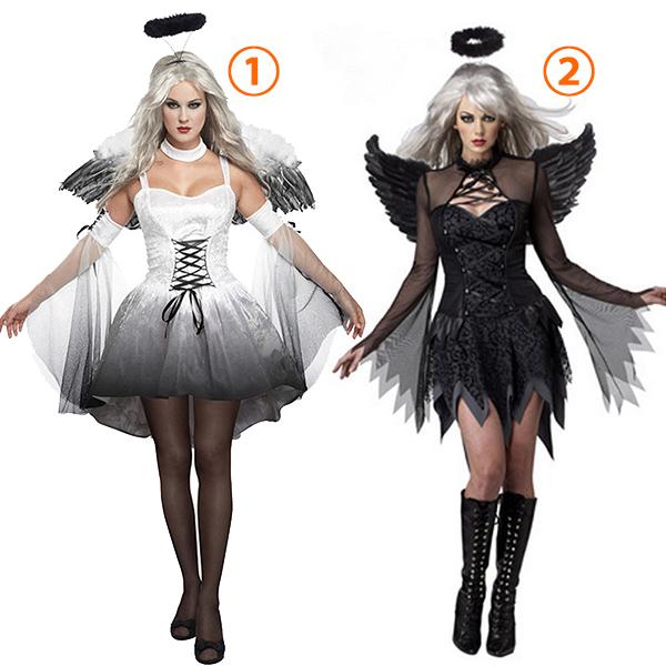 Womens Sexy Fallen Angel Costume Halloween Cosplay