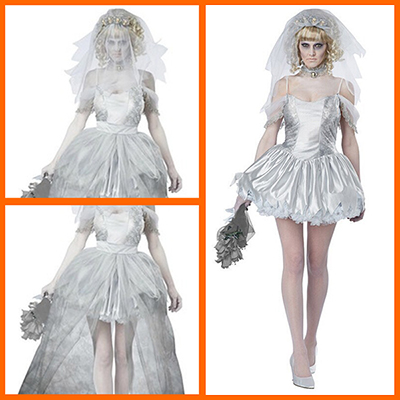 Women Zombie Bride Costume Cosplay Halloween