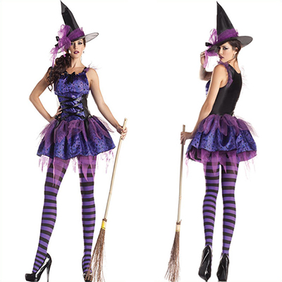 Black Purple Irregular Hem Witch Costume Cosplay Halloween
