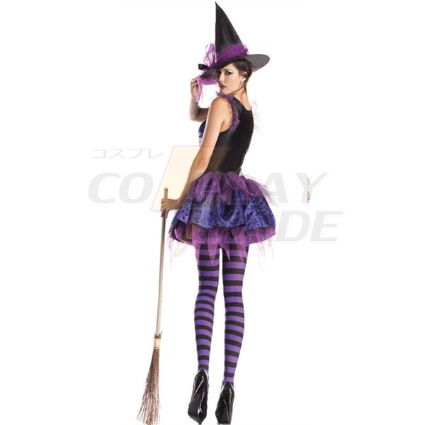 Black Purple Irregular Hem Witch Costume Cosplay Halloween