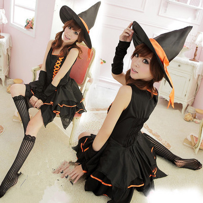 Popular Black Irregular Hem Witch Costume Cosplay Halloween