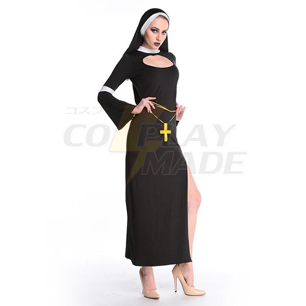 Sexy Womens Black Nun Long Dress Cosplay Costume Halloween