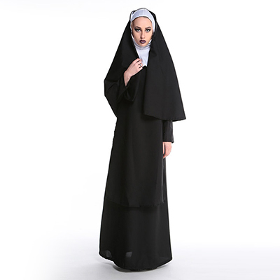Popular Women Priest Costume Cosplay Halloween Black