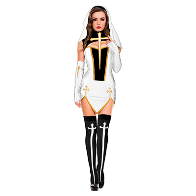 Mujeres Blanco Bad Habit Nun Disfraz Halloween Cosplay Carnaval