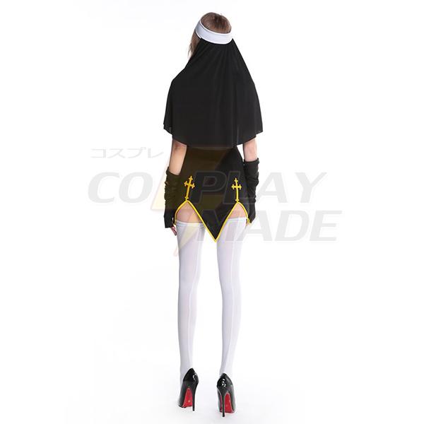Dame Sort Dårlig Vane Nun Kostume Halloween Cosplay Fastelavn