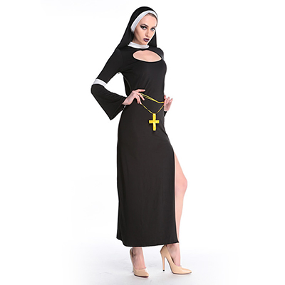 Womens Halloween Cosplay Party Religious Nun Long Dress