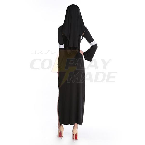 Dame Halloween Cosplay Komsammen Religious Nun Lang Kjoler Fastelavn