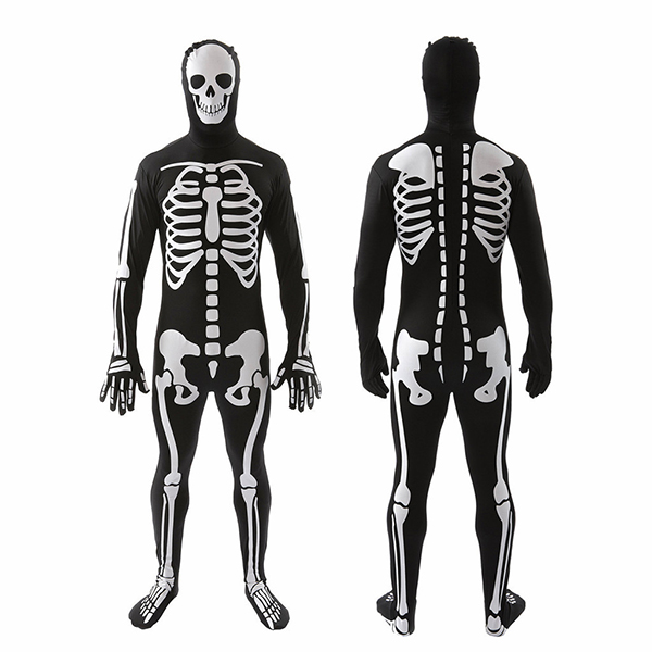 Herre Skeleton Hud Suit Knogler Halloween Fancy Kjole Kostume Cosplay