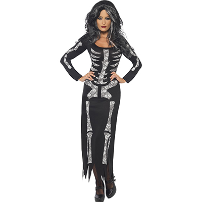 Kvinners Skeleton Hud Suit Bones Halloween Fancy Kjoler Kostymer
