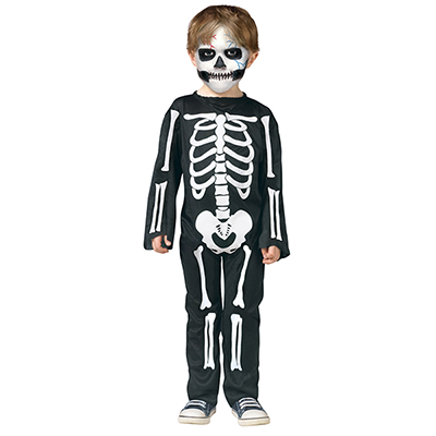 Kids Skeleton Skin Suit Bones Halloween Fancy Dress Costume