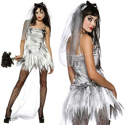 Womens Sexy Zombie Bride Costume Cosplay Halloween