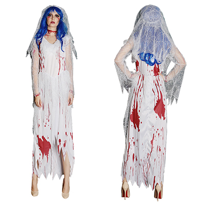 Zombie Long White Bride Costume Cosplay Halloween