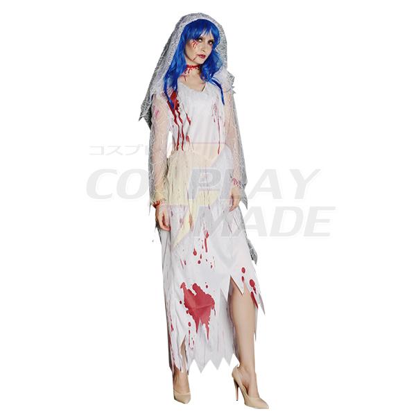 Zombie Long White Bride Costume Cosplay Halloween