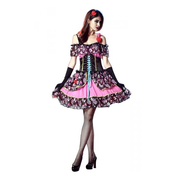 Womens Flower Vampiress Costume Cosplay Halloween