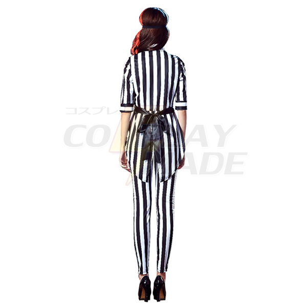 Womens Stripe Print Horror Vampire Costume Cosplay Halloween