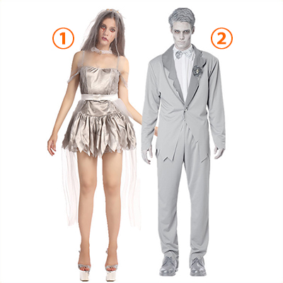 Ghostly Bride and Groom Costume Cosplay Halloween