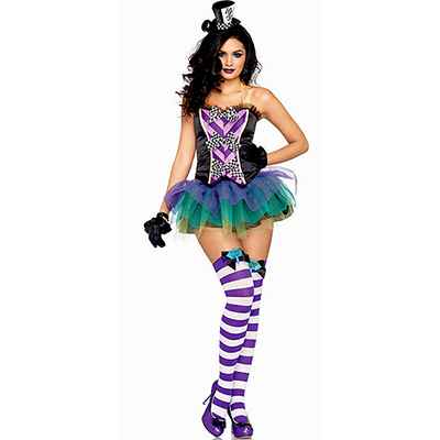 Womens Mad Hatter Costume Halloween Purple Cosplay
