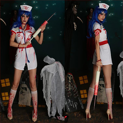 Wit Bloody Nurse Kit Kostuum Cosplay Carnaval