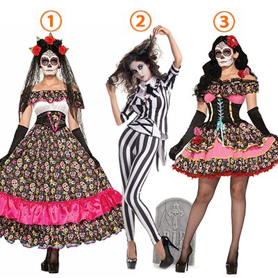Womens Day Of Dead Senorita Costume Cosplay Halloween
